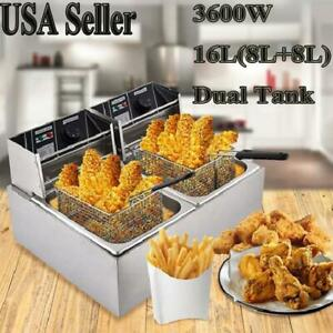 3600w 16l Electric Countertop Deep Fryer Dual Tank Commercial Restaurant Basket
