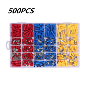 500pcs Assorted Crimp Terminal Insulated Electrical Wire Connector Spade Kit Set