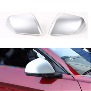 Silver Side Door Rearview Mirror Cover Shell Cover Trim For Ford Mustang 2015