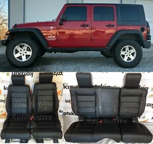 2008 2009 2010 Jeep Wrangler Leather Seat Covers Kit Black Salsa Red 4 Door Kit