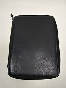 Franklin Covey Black Leather Zipper Planner Folio No Rings Full Grain Leather