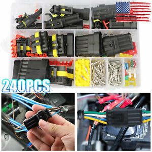 240pcs 1 2 3 4 5 6pin Way Waterproof Car Auto Electrical Wire Connector Plug Kit