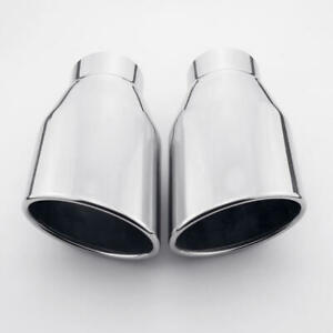 Stainless Steel 2 25 Inlet Exhaust Tips Weld On Dual Oval Out Rolled Slant 7 L