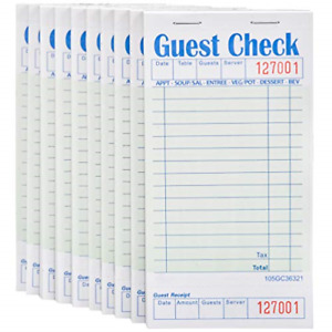 Stock Your Home Guest Check Book 10 Books 3 5 X 6 75 Server Note Pads And Pads