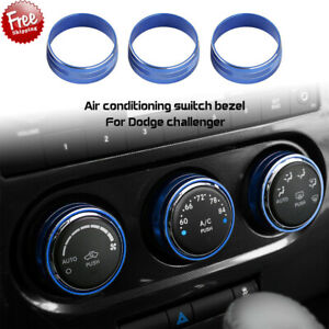 3pcs Air Conditioner Switch Knob Trim Ring Blue For Dodge Challenger 2009 2014 M