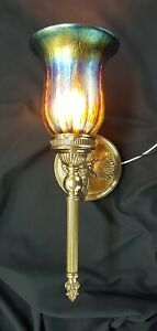 Antique Brass Dolphin Fish Design Sconce With Art Glass Multicolored Shade