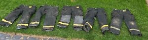 lot Of 5 Morning Pride Fire Fighter Turnout Black Pants Used Good Condition