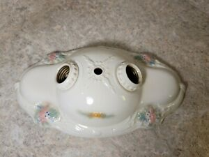 Antique Vintage Floral Porcelier Porcelain 2 bulb Ceiling Light Fixture