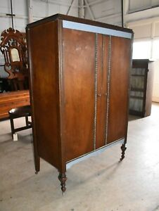 Antique 2 Door Walnut Bedroom Armoire Wardrobe Closet