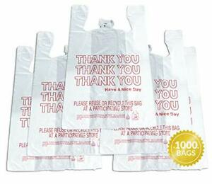 Thank You T shirt Bags 1000 Count Plastic Bulk Shopping Bags Restaurant