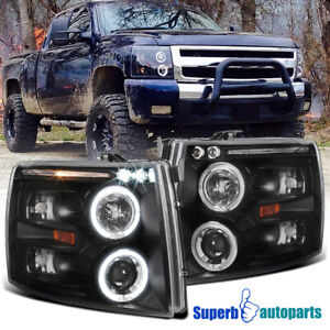 For 2007 2014 Chevy Silverado Led Halo Projector Headlights Lamps Black