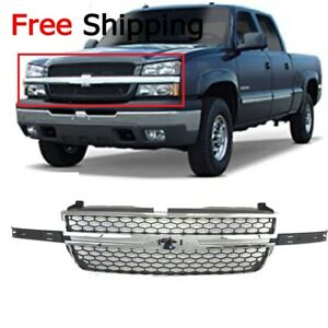 For 2003 2007 Grille Frame Chrome Shell Honeycomb Insert Silverado 1500 2500 Hd