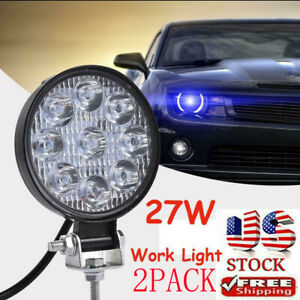 2x Led Work Lights Bar Spot Flood Driving Pods Offroad Combo Truck 4 Inch Round