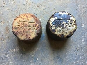 Vintage Old Antique Ford Signature Hub Dust Covers Center Caps Axle Wheel Grease