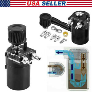 Aluminum Engine Oil Catch Can Kit Reservoir Baffled Tank With Breather Filter