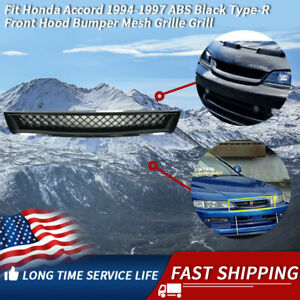 Fit 1994 1997 Honda Accord Dx Lx Ex T R Type Front Hood Mesh Black Grille Grill