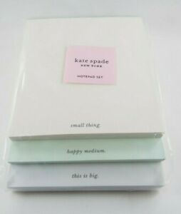 Kate Spade Peach Green White Small Medium Large Stacked Notepad Set New