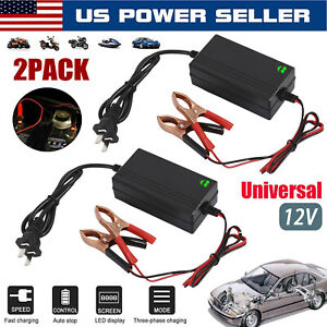 2pack 12v Auto Car Battery Charger Tender Trickle Maintainer Boat Motorcycle Us