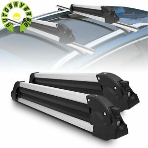 2 Pcs Skis Carrier 27 Snowboard Car Roof Rack Aluminum Snowboards Carrying