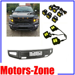 Raptor Style For 15 17 Ford F150 Conversion Steel Front Bumper W 6 Led Foglights
