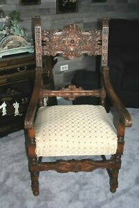 Antique Carved Wood Throne Chair