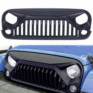 Black Shark Grill Angry Bird Grille For 2007 2018 Jeep Wrangler Jk Front Matte