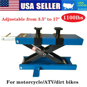 1100lbs Motorcycle Steel Adjustable Scissor Lift With Fixation Clamp Blue Us