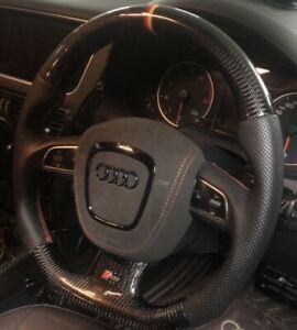 100% Real Carbon Fiber Leather Steering Wheel For Audi A4 A5 S4 S5 S6 B7 B8 08 $599.00