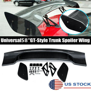 58 Inch Carbon Fiber Look Car Gt style Wing Trunk Spoiler Universal Body Kit Usa