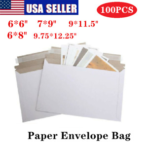 Pack Of 100 Rigid Shipping Mailers Paper Envelopes Bags W self adhesive Strip Us