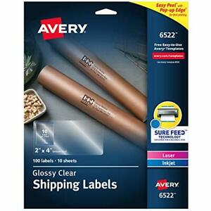 Avery Glossy Crystal Clear Address Labels For Laser Inkjet Printers 2 X 4