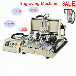 4axis Usb Cnc 6040 1500w Router Engraving Cutting Drilling Machine remote