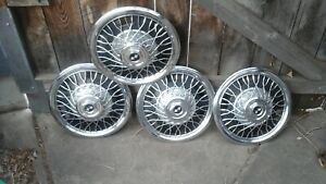 Set Of 4 Vintage 14 Inch Metal Wire Spoke Hubcaps Wheel Covers