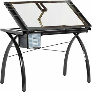 Drafting Table Adjustable Top Crafting Drawing Station Black And Clear Glass