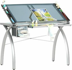 Drafting Table Adjustable Top Crafting Drawing Station Silver And Blue Glass