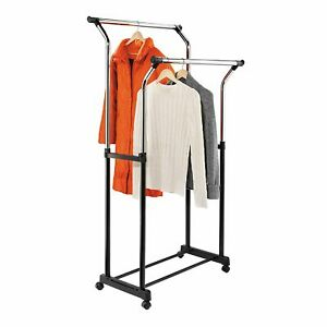 Rolling Clothes Rack Double Bar Black And Chrome Heavy Duty Steel Rust Resistant