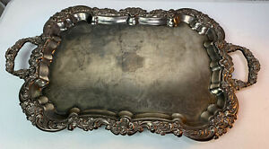 Gorgeous Vintage Large Ornate Silver Plated Butler Serving Tray With Handles