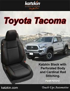 Black Red Leather Seat Covers 2016 2021 Toyota Tacoma Double Cab Perforated
