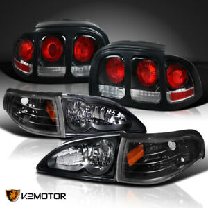 Black For 1994 1998 Mustang Gt Headlights W Corner Lamps Brake Lamps Tail Lights
