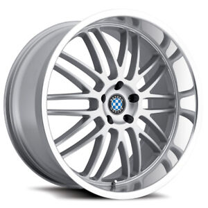 Staggered Beyern Mesh Front 22x9 5 Rear 22x11 5x120 Silver Wheels Rims
