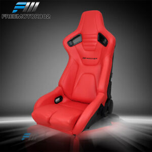 Adjustable Universal Racing Seat Dual Slider Left Driver Red Pu Carbon Leather