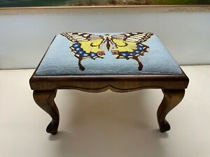50s Vintage Butterfly Needlepoint Foot Stool
