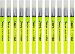 Clearview Pen style Highlighter Fine Chisel Tip Fluorescent Yellow Ink Dozen