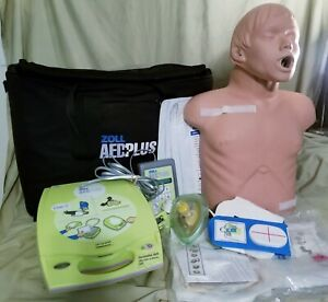 Zoll Aed Plus Trainer Defibrillator Kit W remote Pads Manikin Carry Bag More