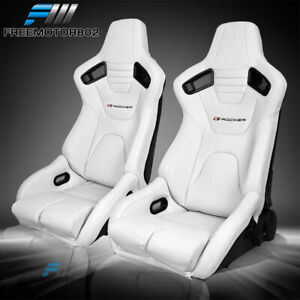 Adjustable Universal Racing Seats Pair White Pu Carbon Leather 2 Dual
