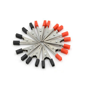 10pcs Alligator Clips Vehicle Battery Test Lead Clips Probes 32mm Red black_hm