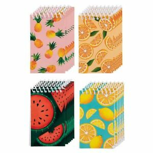 24 Spiral Notebooks For Journaling note Taking lined Paper 4 Fruit Design 3 x5