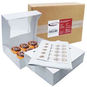Bakery Box Donut 12x8x2 25 White Paperboard With A Window Pack Of 20