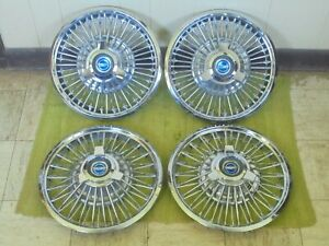 65 66 Ford Wire Spoke Spinner Hubcaps 14 Set 4 Wheel Covers 1965 1966 Hub Caps