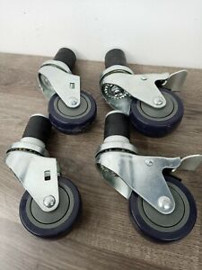Industrial Steel And Rubber Caster Wheels With Stopping Mechanism